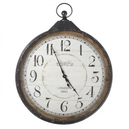 extra large distressed black pocket watch clock