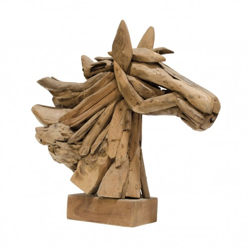 palecek driftwood mini horse head decor