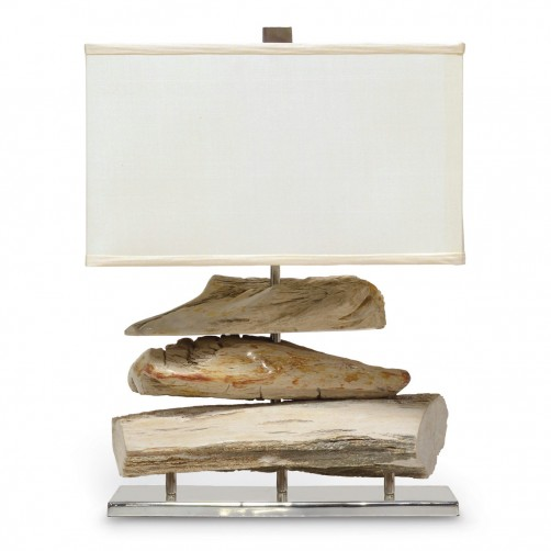 petrified wood log table lamp