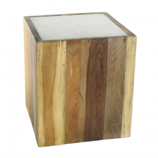 homart reclaimed wood square table w/ marble top