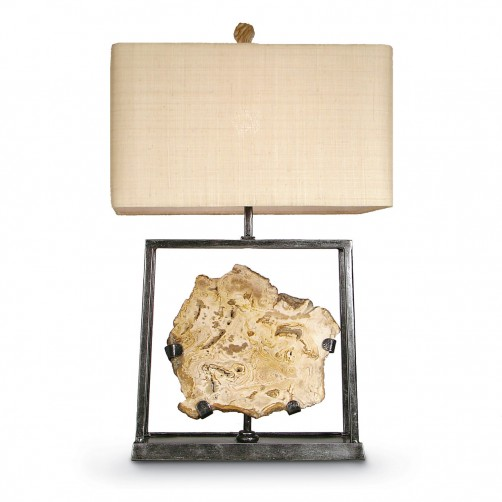 petrified wood shadowbox table lamp