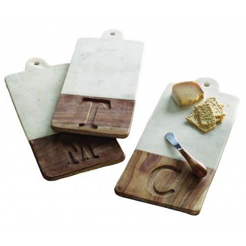 mud pie lettered marble & wood cutting board