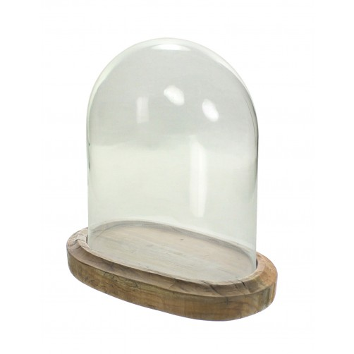 homart arcadia oval wood base w/ glass dome, large