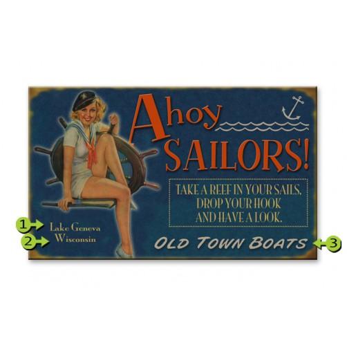 ahoy sailors customizable wood sign