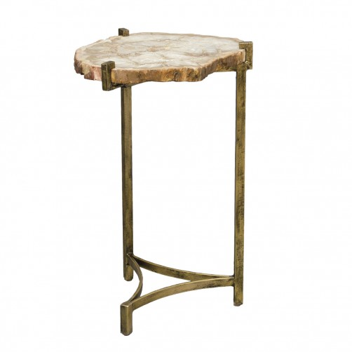 palecek petrified wood slide side table