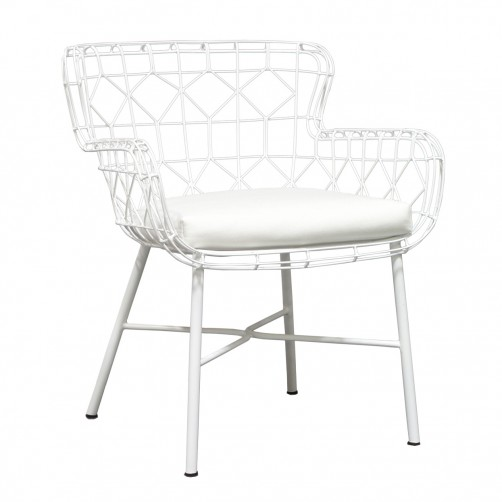 palecek capri outdoor arm chair, white