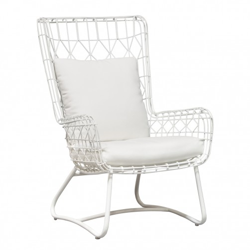 palecek capri outdoor wing chair, white