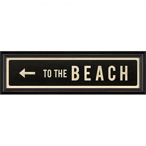"""to the beach"" left arrow street sign"