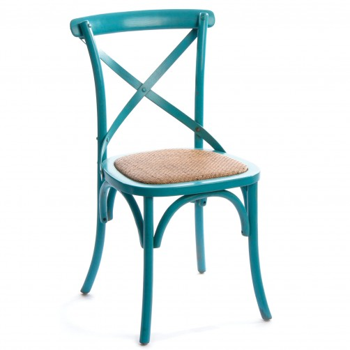 birch cross back chair blue