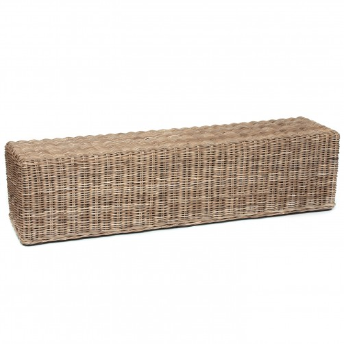 rectanguler rattan bench natural