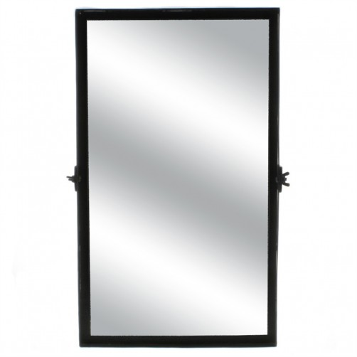 homart black waxed pivot iron mirror, small