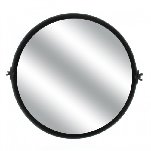 homart round black waxed pivot iron mirror, small