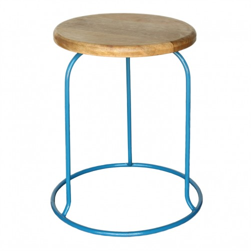 homart graham iron and wood stool, azure
