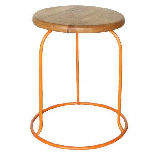 homart graham iron and wood stool, orange