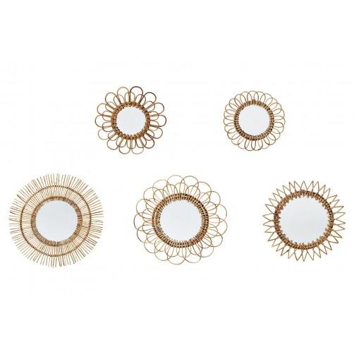 set of 5 natural rattan wall mirrors