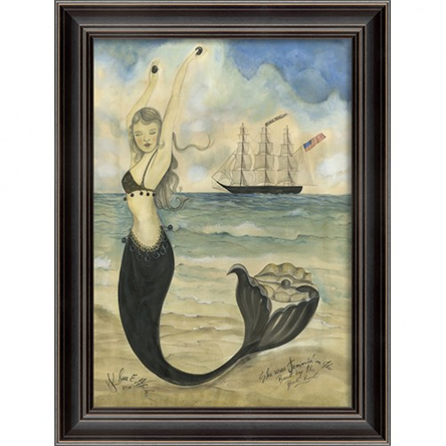 """black pearl oyster lounge"" mermaid art"
