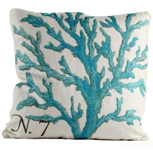 blue branch coral pillow