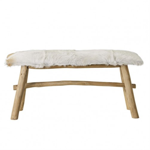 wood bench w/ goat fur top
