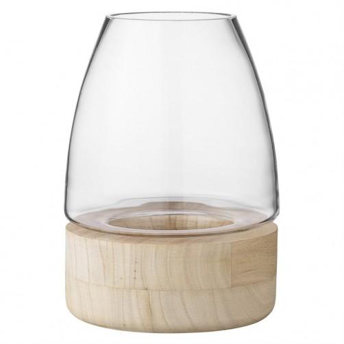 """glass lantern w/ wood base 15"""""""