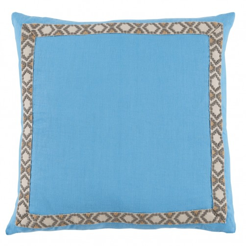 lacefield sky linen with grey on white camden tape pillow