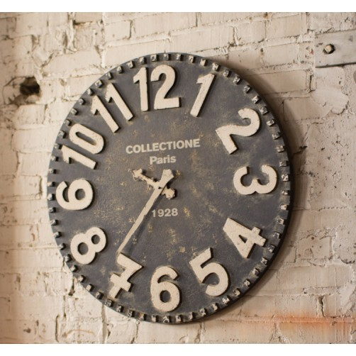 black & white wooden wall clock
