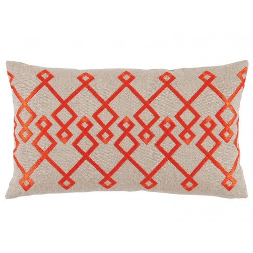 lacefield chevron orange embroidery lumbar pillow