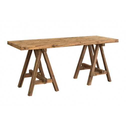 recycled wooden deep console w/ sawhorse base