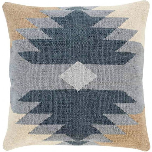 surya cotton kilim navajo pillow in charcoal