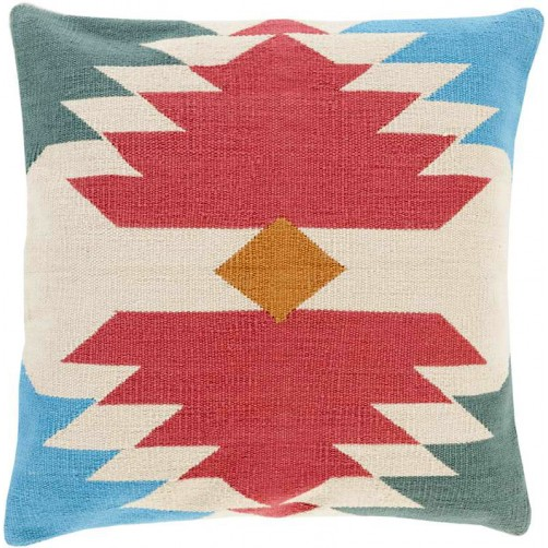 surya cotton kilim navajo pillow in garnet