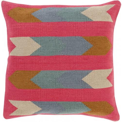 surya cotton kilim arrows pillow in pink