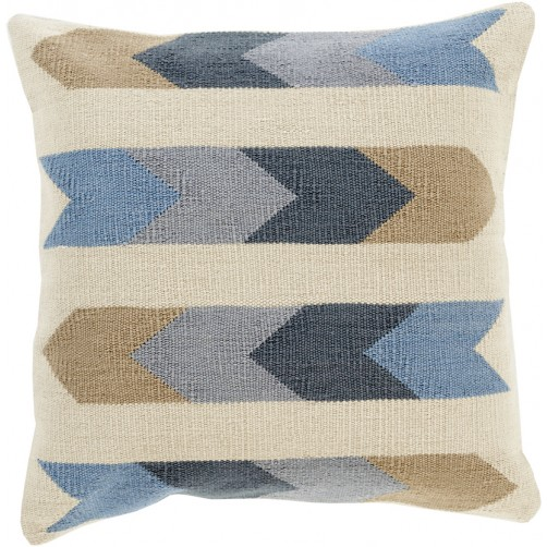 surya cotton kilim arrows pillow in cream