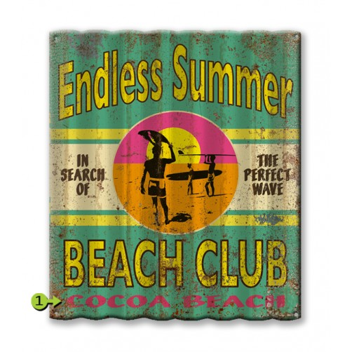 the endless summer beach club customizable corrugated metal sign