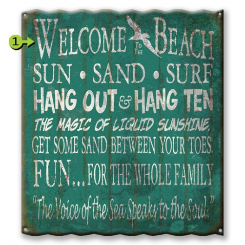 beach rules customizable corrugated metal sign