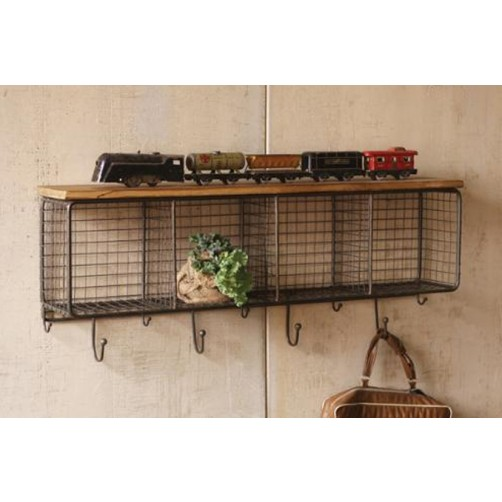 wire mesh horizontal cubby w/ wooden top