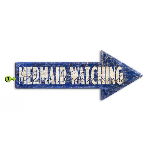 mermaid watching customizable wood sign