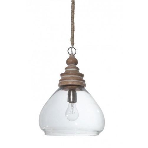 glass & mango wood sanctuary ceiling pendant lamp