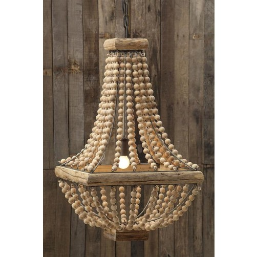 hacienda chandelier with wood beads