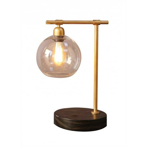 metal & wood table lamp w/ glass shade