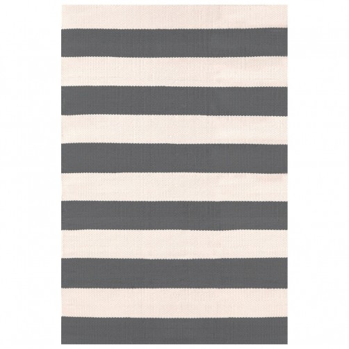 dash & albert catamaran stripe graphite ivory indoor/outdoor rug