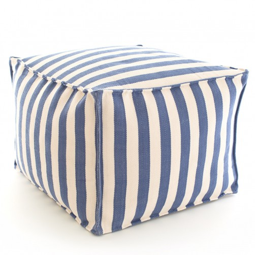 dash & albert trimaran stripe denim ivory indoor/outdoor pouf