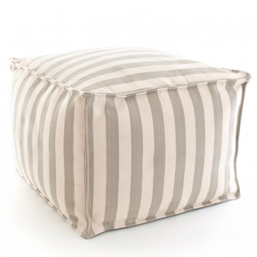dash & albert trimaran stripe platinum ivory indoor/outdoor pouf