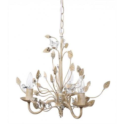 glass birds chandelier, cream
