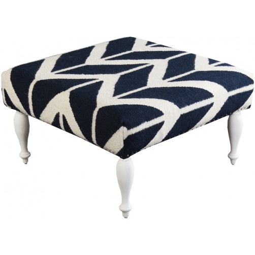surya ottoman, navy and beige