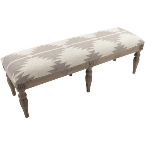 surya camel & grey wool bench
