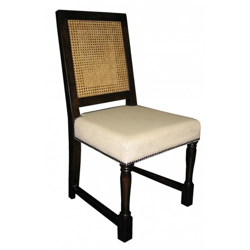 noir colonial caning dining chair