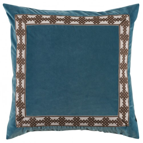 lacefield glass velvet pillow with amalfi charcoal tape