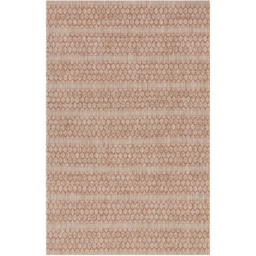 isle collection beige & rust lattice polypropylene rug