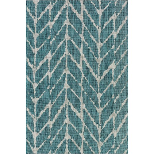 isle collection teal & grey feather polypropylene rug