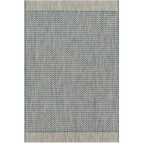isle collection grey & blue chevron polypropylene rug