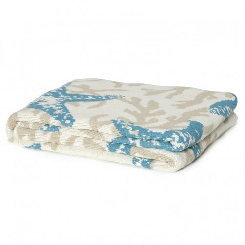 eco starfish coral throw blanket aqua